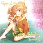 1girl blue_eyes blush brown_hair character_name eyebrows_visible_through_hair green_skirt happy_birthday heart highres idolmaster kneehighs long_sleeves looking_at_viewer medium_hair natori_(meteo0311) open_mouth sitting skirt smile solo takatsuki_yayoi twintails white_legwear
