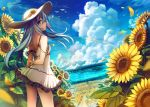 1girl alternate_costume blue_eyes clouds cloudy_sky day dress flower hat hibiki_(kantai_collection) kantai_collection long_hair petals rainbow silver_hair sky sleeveless sleeveless_dress solo standing sunflower verniy_(kantai_collection) white_dress white_hat yu-yuuki