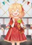 bag blonde_hair blue_flower bow cake closed_eyes cupcake dress fang flandre_scarlet food fork fruit hair_ribbon head_tilt highres holding_bag knife open_mouth puffy_short_sleeves puffy_sleeves red_bow red_dress red_ribbon ribbon short_sleeves shoulder_bag smile strawberry touhou useq1067 wings