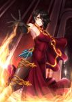 1girl adsoutoart black_hair cinder_fall dress fire gloves hair_over_one_eye highres magic rwby scar scar_across_eye solo thigh-highs