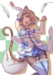 1boy :3 :d animal_ears armpits arms_up bangs bare_shoulders black_legwear blue_bow blue_choker blue_dress blue_legwear blue_ribbon blush_stickers bob_cut bolo_tie bow bow_dress brown_hair cat_ears cat_tail cat_teaser checkered checkered_background choker clenched_hands collarbone colored_eyelashes commentary cross-laced_clothes detached_sleeves dress dress_bow eyebrows_visible_through_hair eyelashes fang feet_up felix_argyle fingernails frilled_dress frills front-tie_top hair_between_eyes hair_bow hair_ribbon happy highres jewelry jumping large_bow layered_dress looking_at_viewer male_focus open_mouth orange_eyes pantyhose parted_bangs paw_pose pendant re:zero_kara_hajimeru_isekai_seikatsu ribbon shade short_dress short_eyebrows short_hair simple_background smile solo spaghetti_strap striped striped_legwear striped_ribbon tail thick_eyebrows thigh-highs thigh_gap thighhighs_over_pantyhose trap vertical-striped_dress vertical-striped_legwear vertical_stripes white_background white_bow white_dress yougen_kitsune