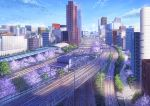 blurry brand_name_imitation building cherry_blossoms cityscape clouds commentary_request day niko_p no_humans original railroad_tracks real_world_location revision road scenery shadow shinjuku sky spring_(season) street tokyo_(city) train_station tree
