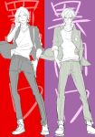 2boys alternate_costume arms_at_sides full_body looking_at_viewer male_focus multiple_boys nanjou_tatsuya persona persona_1 persona_2 persona_dancing_night shoes short_hair simple_background sneakers toudou_naoya two-tone_background