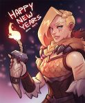 1girl 2017 armor blonde_hair blue_eyes braid fire fur_trim happy_new_year horn lipstick long_hair makeup nail_polish new_year paladins scar solo teeth tyra_(paladins) upper_body