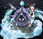 1girl :d absurdres artist_request bare_shoulders baseball_cap blue_eyes boots brown_hair cloyster denim denim_shorts female full_body hand_on_hip hat highres ice icicle looking_at_viewer open_mouth pokemon pokemon_(creature) pokemon_(game) pokemon_bw ponytail shorts smile smoke standing tank_top touko_(pokemon) vest wristband