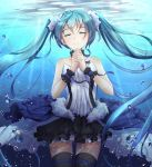 1girl 7th_dragon 7th_dragon_(series) 7th_dragon_2020 aqua_hair bubble byakuya_reki closed_eyes hands_clasped hatsune_miku long_hair revision skirt solo submerged thigh-highs twintails underwater very_long_hair vocaloid