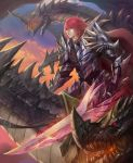 1boy aura breathing_fire cape clenched_teeth clouds commentary dragon dragon_riding fantasy fire flying highres holding holding_sword holding_weapon huge_weapon long_hair looking_afar looking_away nguyen_uy_vu original ornate_armor parted_lips pauldrons plate_armor red_cape red_eyes redhead reins riding sky sunset sword teeth weapon