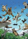 artist_signature blue_sky cat clouds dated falling forest matataku nature no_humans original outdoors signature sky surprised_cat_(matataku) too_many too_many_cats tree