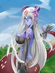 1girl absurdres alisfieze_fateburn_xvi bare_shoulders black_gloves blue_skin blue_sky breasts commentary_request day elbow_gloves flower from_side full_body_tattoo gloves hair_flower hair_ornament highres horns lamia large_breasts long_hair looking_at_viewer mon-musu_quest! monster_girl nature onji outdoors pointy_ears ribbon silver_hair sky smile solo tail tail_ribbon tattoo upper_body very_long_hair yellow_eyes