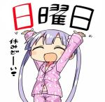 1girl :d chibi closed_eyes flower hair_flower hair_ornament kanikama long_hair lowres new_game! open_mouth pajamas purple_hair ribbon smile solo suzukaze_aoba translated twintails white_background