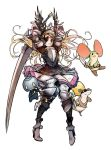 animal armor belt blonde_hair blue_eyes boots braid breastplate character_request copyright_request eyepatch feathers gauntlets helmet high_heel_boots high_heels long_hair mins_(minevi) mouse sack skirt sword tagme weapon white_background