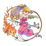 1girl :d blonde_hair blue_eyes blue_shoes breasts claw_(weapon) earrings ebi_typer flaming_weapon holding holding_spear holding_weapon jewelry leotard open_mouth pants pointy_ears polearm ponytail purim seiken_densetsu seiken_densetsu_2 shoes small_breasts smile solo spear striped striped_pants twisted_torso weapon whip