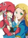 2girls blonde_hair braid capelet crescent crescent_hair_ornament fingerless_gloves fins fish_girl french_braid gloves green_eyes hair_ornament hairclip jewelry long_hair looking_at_viewer mipha multicolored multicolored_skin multiple_girls necklace no_eyebrows open_mouth pointy_ears princess_zelda red_skin rem_sora410 the_legend_of_zelda the_legend_of_zelda:_breath_of_the_wild tunic white_skin yellow_eyes yuri zora