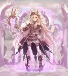 1girl absurdres animal_ears bare_shoulders blonde_hair boots breasts commentary_request deluxe<<< detached_sleeves dress full_body garters gothic_lolita gown high_heel_boots high_heels highres holding holding_staff lolita_fashion long_hair looking_at_viewer magic magic_circle original puffy_sleeves ruins small_breasts smile solo staff standing thigh-highs white_legwear yellow_eyes