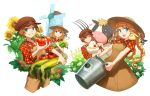 1boy 1girl :d ;) animal animal_on_shoulder bird blonde_hair blue_eyes braid brown_dress brown_hat chick chicken corn cow dress farm flower grin harvest_moon hat heart holding holding_animal long_hair looking_at_another nanami_(story_of_seasons:_trio_of_towns) nekorin_(nekoforest) one_eye_closed open_mouth overalls pitchfork plaid plaid_shirt shirt short_hair smile story_of_seasons:_trio_of_towns straw_hat sun_hat sunflower tomato twin_braids windmill