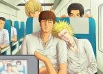 5boys black_hair blonde_hair brown_hair bus camera character_request facial_hair facing_viewer ground_vehicle head_on_shoulder index_finger_raised jewelry motor_vehicle multiple_boys naji_0337 necklace one_outs pocket satoshi_ideguchi shirt sleeping spiky_hair tokuchi_toua white_shirt