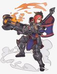 1girl absurdres armor armored_boots ash_(paladins) black_hair boots brown_eyes fire flag gloves gun hair_over_one_eye highres multicolored_hair paladins redhead short_hair simple_background solo splashbrush two-tone_hair weapon white_background