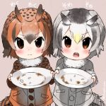 2girls bird_tail bird_wings blonde_hair blush brown_hair buttons closed_mouth coat commentary_request eurasian_eagle_owl_(kemono_friends) eyebrows_visible_through_hair fur_collar kemono_friends long_sleeves multicolored_hair multiple_girls northern_white-faced_owl_(kemono_friends) open_mouth owl_ears plate short_hair turbo_engine_(rakugaki_tabo) white_hair wings