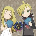 1boy 1girl :> blonde_hair braid brother_and_sister closed_eyes cosmog dress gladio_(pokemon) green_eyes hood hoodie lillie_(pokemon) long_hair long_sleeves piisuke_(ebiko) pokemon pokemon_(creature) pokemon_(game) pokemon_sm short_hair siblings sleeveless sleeveless_dress torn_clothes twin_braids white_dress