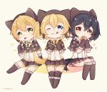 3girls :p ;p artist_name bangs black_boots black_gloves black_hair black_legwear black_shorts boots bow capelet chibi commentary_request cookie eating elbow_gloves food food_on_face fur-trimmed_boots fur-trimmed_gloves fur_trim gloves green_eyes hair_between_eyes halloween_costume highres holding holding_food hoshizora_rin invisible_chair knee_boots kneehighs kousaka_honoka looking_at_viewer love_live! love_live!_school_idol_project miniskirt multiple_girls one_eye_closed one_side_up orange_hair paparu_(137135585) paw_print pink_bow red_eyes short_hair shorts sitting skirt sparkle standing star striped striped_legwear sweets tail tongue tongue_out twintails vertical-striped_legwear vertical-striped_shorts vertical_stripes wolf_hood wolf_tail yazawa_nico yellow_bow