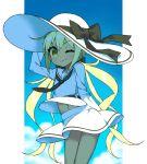 10s alternate_color blonde_hair hat itsumo_nokoru kantai_collection long_hair one_eye_closed satsuki_(kantai_collection) smile twintails yellow_eyes
