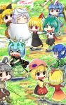 >_< 6+girls aki_minoriko aki_shizuha animal_ears barefoot basket black_bow blonde_hair blue_hair bow brown_hat butterfly_wings chibi closed_eyes commentary dated eternity_larva gapangman grey_hair hair_bow hair_ribbon hairband hand_holding hat head_fins highres holding kurodani_yamame mallet mouse mouse_ears mouse_tail multiple_girls nazrin no_nose open_mouth partially_submerged rabbit_ears red_ribbon ribbon rumia seiran_(touhou) short_hair short_twintails signature snow tail touhou twintails white_hat wings wriggle_nightbug