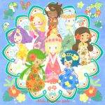 6+girls acerola_(pokemon) bellossom bird blonde_hair blue_hair bounsweet brown_hair closed_eyes closed_mouth comfey cosmog diglett dress dress_lift earrings facepaint feather_earrings floral_background floral_print flower green_hair hair_flower hair_ornament hapu'u_(pokemon) head_wreath hibiscus hibiscus_print highres hula jewelry kahili_(pokemon) lei lillie_(pokemon) lychee_(pokemon) mao_(pokemon) matsurika_(pokemon) mimikyu minior mitsuboshi multicolored_hair multiple_girls necklace oddish open_mouth pokemon pokemon_(creature) pokemon_(game) pokemon_sm pyukumuku sandals suiren_(pokemon) toucan toucannon wishiwashi