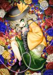 1girl bangs black_hat black_shoes blue_rose bow bright_pupils fetal_position floral_print flower full_body green_eyes green_skirt hat hat_bow heart heart_of_string highres komeiji_koishi long_sleeves looking_at_viewer lying on_side petals red_rose rose rose_petals shirt shoes silver_hair skirt smile solo suna_(s73d) third_eye touhou white_rose wide_sleeves yellow_bow yellow_rose yellow_shirt