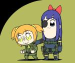 2girls :3 big_boss big_boss_(cosplay) bkub_(style) black_hair blonde_hair blue_eyes bow commentary cosplay eyepatch hair_bow hand_on_another's_shoulder jotace kazuhira_miller kazuhira_miller_(cosplay) long_hair metal_gear_(series) metal_gear_solid_v multiple_girls pipimi poptepipic popuko sidelocks sneaking_suit two-tone_background two_side_up yellow_eyes
