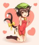 1girl :3 animal_ears bare_arms black_legwear black_panties breasts brown_eyes brown_hair bushi_(1622035441) cat_ears cat_tail chen china_dress chinese_clothes covered_navel dress eyebrows_visible_through_hair fangs green_hat hat heart highres jewelry kneehighs kneeling looking_at_viewer mob_cap multiple_tails nail_polish panties red_nails short_dress side-tie_panties side_slit single_earring small_breasts solo tail touhou two_tails underwear