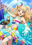 1girl aikatsu! aikatsu!_photo_on_stage!! anchor_symbol beads bird blonde_hair boat bracelet day earrings ferret frills gloves hat highlights jewelry multicolored_hair natsuki_mikuru navel necklace ocean open_mouth outstretched_arm petals pink_eyes sailing sailor_hat seagull short_twintails smile star star_print twintails water water_drop watercraft