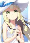 1girl blonde_hair braid dress green_eyes hat highres lillie_(pokemon) long_hair pokemon pokemon_(game) pokemon_sm sleeveless sleeveless_dress solo sun_hat twin_braids upper_body white_dress white_hat yuihiko