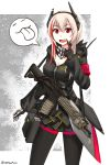 1girl armband assault_rifle black black_gloves black_legwear black_skirt breasts cleavage commentary_request fang girls_frontline gloves gun hair_between_eyes headgear highres hood hoodie long_hair looking_at_viewer m4_carbine m4_sopmod_ii_(girls_frontline) medium_breasts multicolored_hair ndtwofives neckerchief pantyhose pink_hair pleated_skirt red_eyes redhead rifle skirt solo stanag_magazine streaked_hair weapon