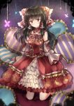 1girl adapted_costume bangs black_hair bow dress embellished_costume frilled_dress frills full_body hair_bow hair_tubes hakurei_reimu heart heart_pillow highres kneehighs kneeling looking_at_viewer pillow red_bow red_dress red_eyes shironeko_yuuki sleeves_past_wrists solo striped_pillow touhou yin_yang