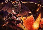 >:d 1girl :d absurdres alternate_wings arm_cannon bow brown_hair commentary dark_clouds dark_sky dragon_girl dragon_tail dragon_wings flying full_body hair_between_eyes hair_bow highres horns long_hair looking_at_viewer meteor meteor_shower monster_girl open_mouth reiuji_utsuho rin_falcon smile solo tail touhou weapon wings yellow_eyes