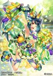 ;d arm_up armpits black_hair breasts brown_eyes copyright_name day detached_sleeves green_skirt jumping midair official_art one_eye_closed open_mouth outdoors pom_pom see-through sengoku_taisen skirt small_breasts smile tassel under_boob wide_sleeves yonetuki