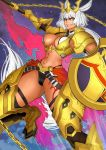 1girl abs absurdres animal_ears bangs bikini black_bikini black_gloves black_legwear body_markings breasts caenis_(fate) cape chain dark_skin eguchi_tumoru elbow_gloves fate/grand_order fate_(series) faulds fire flame gloves gold_armor gold_chain grey_background hair_intakes headpiece highleg highleg_bikini highres large_breasts long_hair looking_at_viewer navel parted_lips pauldrons polearm ponytail red_cape red_eyes shield shoulder_armor sky solo spear star_(sky) starry_sky swimsuit tattoo thigh-highs thigh_gap waist_cape weapon white_hair