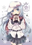 10s 1girl black_legwear black_skirt blue_eyes blue_hair blush character_name cup eyebrows_visible_through_hair hammer_and_sickle hat hibiki_(kantai_collection) highres holding holding_cup kantai_collection long_hair long_sleeves looking_at_viewer mitsuki_ponzu parted_lips red_scarf scarf skirt solo thigh-highs verniy_(kantai_collection) white_hat