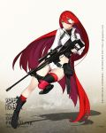 1girl 92m bangs belt bipod black_boots black_gloves blue_eyes boots breasts character_name closed_mouth copyright_name crop_top error fingerless_gloves floating_hair full_body girls_frontline gloves gun hair_between_eyes highres jacket knee_boots kneehighs load_bearing_equipment long_hair looking_at_viewer medium_breasts midriff official_art open_clothes open_jacket pouch redhead rifle scope shadow short_shorts shorts single_kneehigh single_thighhigh sniper_rifle solo t-5000_(girls_frontline) thigh-highs thigh_strap trigger_discipline tsurime turtleneck very_long_hair watermark weapon web_address white_shorts