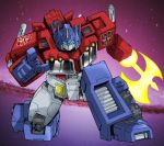 1boy 80s autobot axe blue_eyes galaxy glowing glowing_eyes headgear insignia looking_at_viewer machine machinery mecha no_humans oldschool optimus_prime outdoors personification pointing pointing_at_viewer robot sky solo star star_(sky) starry_background starry_sky transformers tsushima_naoto weapon