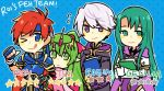 2boys 2girls armor blush breasts cape cecilia_(fire_emblem) chiki closed_eyes elbow_gloves fire_emblem fire_emblem:_fuuin_no_tsurugi fire_emblem:_kakusei fire_emblem:_monshou_no_nazo fire_emblem_heroes gloves green_eyes green_hair hair_ornament jewelry long_hair male_my_unit_(fire_emblem:_kakusei) multiple_boys multiple_girls my_unit_(fire_emblem:_kakusei) open_mouth pointy_ears ponytail redhead ribbon roirence roy_(fire_emblem) short_hair smile white_hair