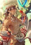 1boy abs areolae biceps bird bird_on_hand brown_hair building dark_skin dark_skinned_male dutch_angle earrings feathers fu_tomiko hand_on_hip high_ponytail highres indian jewelry long_hair looking_at_viewer male_focus muscle necklace nipples open_mouth original pectorals pointy_ears shirtless solo