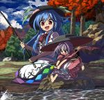 2girls barefoot blouse blue_hair blue_sky bow bowl bowl_hat clouds commentary_request day fishing_rod food forest fruit hat highres hinanawi_tenshi holding holding_fishing_rod japanese_clothes kimono long_hair long_sleeves looking_at_another multiple_girls nature neck_bow obi open_mouth outdoors peach puffy_short_sleeves puffy_sleeves purple_hair red_bow red_eyes red_kimono red_neckwear rock sash shope short_hair short_sleeves sidelocks sitting sky smile sukuna_shinmyoumaru sweatdrop touhou tree water white_blouse