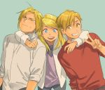 1girl 2boys :d alphonse_elric blonde_hair blue_background blue_eyes brothers clenched_hand commentary earrings edward_elric english_commentary fingernails frown fullmetal_alchemist happy hug hug_from_behind jacket jewelry long_hair long_sleeves looking_at_viewer looking_away loveariddle multiple_boys open_mouth ponytail purple_shirt red_shirt shirt short_hair siblings simple_background smile standing sweatdrop upper_body v white_jacket white_shirt winry_rockbell yellow_eyes