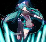1girl absurdres asymmetrical_legwear black_boots black_gloves black_shirt boots bracelet floating_hair full_body gloves green_eyes green_hair hair_between_eyes half_gloves hatsune_miku head_tilt headphones highres hoshima jewelry long_hair looking_at_viewer shirt sky smile solo star_(sky) starry_sky thigh-highs thigh_boots twintails very_long_hair vocaloid