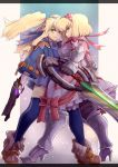 2girls alexia_lynn_elesius armor armored_dress blonde_hair blue_jacket blue_legwear blue_skirt boots bow brown_shoes clarissa_arwin frills full_body gauntlets gloves green_eyes gun hairband holding holding_gun holding_sword holding_weapon jacket knee_boots long_hair looking_at_viewer metal_boots multiple_girls pink_bow pink_hairband shoes short_hair sidelocks skirt smile standing sword thigh-highs twintails weapon white_gloves wild_arms wild_arms_xf yude