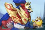 armored_animal artist_name australet789 blue_fur claws corgi electricity fangs looking_at_each_other no_humans pokemon pokemon_(creature) pokemon_(game) pokemon_swsh sitting tongue tongue_out wolf yamper zamazenta