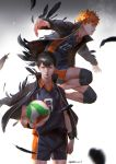 2boys artist_signature ball bangs black_hair black_jacket clenched_hand feathers haikyuu!! highres hinata_shouyou holding holding_ball jacket jacket_on_shoulders jumping kageyama_tobio knee_pads looking_at_viewer male_focus multiple_boys open_clothes open_jacket orange_eyes orange_hair outstretched_arms qmo_(chalsoma) serious short_sleeves shorts signature standing uniform white_background wristband