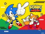 2boys 90s absurdres black_eyes commentary gloves highres multiple_boys official_art ohshima_naoto pointing pointing_up sega sonic sonic_mania sonic_the_hedgehog tails_(sonic) white_gloves