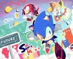 3boys 90s aoi_(aoii91) black_eyes constricted_pupils fang gloves green_eyes highres knuckles_the_echidna male_focus multiple_boys multiple_tails no_humans one_eye_closed running shoes sneakers sonic sonic_mania sonic_the_hedgehog tail tails_(sonic) white_gloves